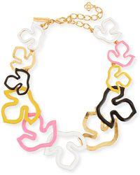 Oscar de la Renta - Foliage Outline Painted Necklace - Lyst