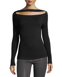 FRAME - Split-front Long-sleeve Fitted Sweater - Lyst