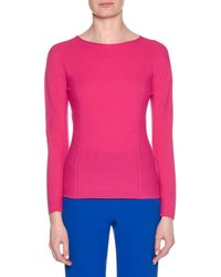 Giorgio Armani - Crewneck Long-sleeve Wool-cashmere Ribbed Top - Lyst