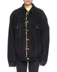 Balenciaga - Japanese Black Denim Jacket W/ Neon Animal-print Faux-fur Lining - Lyst