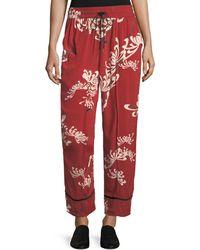 McQ - Drawstring Wide-leg Printed Silk Pajama Pants - Lyst