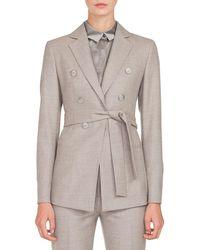 Akris - Single-breasted One-snap Self-belt Flannel Stretch-wool Jacket - Lyst