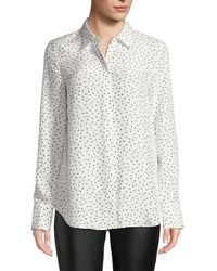 Lafayette 148 New York - Scottie Brilliant Boxes Long-sleeve Silk Blouse - Lyst