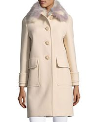 Miu Miu   Button-front Cashmere Coat With Fur Collar   Lyst
