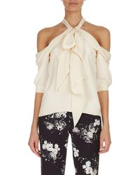 Erdem - Elin Cold-shoulder Tie-neck Top - Lyst