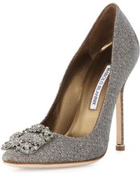 Manolo Blahnik - Hangisi Crystal-buckle Shimmery 105mm Pump - Lyst