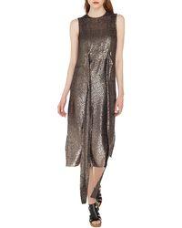 Akris - Sleeveless Self-belt A-line Metallic Silk Devore Cocktail Dress - Lyst