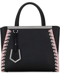 Fendi - 2jours Petite Calf Tote Bag With Ribbon Whipstitching - Lyst