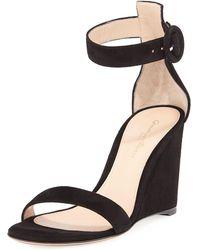 Gianvito Rossi - Portofino Suede Wedge 85mm Sandal - Lyst