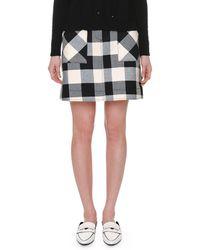 Tomas Maier - Checked Cotton-twill Mini Skirt - Lyst