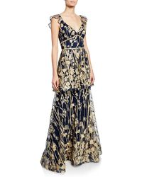 dad0ebaeec7 Marchesa notte - V-neck Sleeveless Tiered Floral-embroidered Gown W/  Metallic Scallop