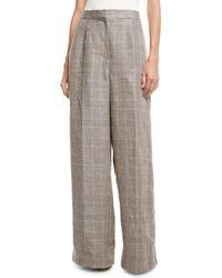Brunello Cucinelli - Wide-leg Linen Houndstooth Trousers - Lyst