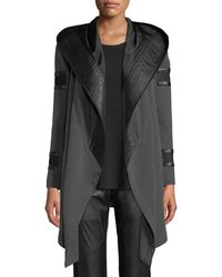 BLANC NOIR - Wanderlust Open-front French Terry Combo Hoodie - Lyst