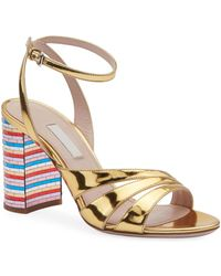 8a8691a5db5d Miu Miu - Metallic Leather Sandals With Mosaic Heel - Lyst
