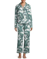 Desmond & Dempsey - Fern Long-sleeve Long Pajama Set - Lyst