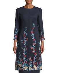Oscar de la Renta - Round-neck Press-button Garden Embellished Wool-cashmere Long Coat - Lyst