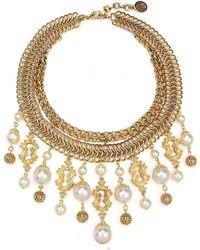 Ben-Amun - Golden Chain Multi-drop Pearly Bib Necklace - Lyst
