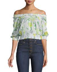 Cinq À Sept - Heidi Off-the-shoulder Floral Smocked Top - Lyst