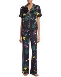 Meng | Floral-print Silk Pajama Set | Lyst