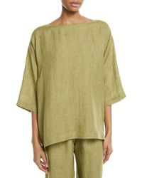 Eskandar - 3/4-sleeve Linen Crosshatch Tunic - Lyst