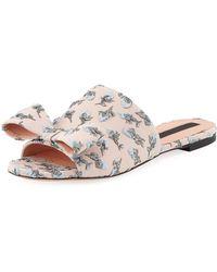 Rochas | Flower-embroidered Flat Slide Sandal | Lyst
