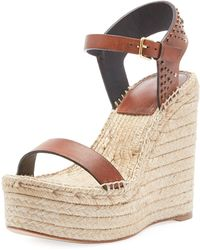 Saint Laurent - Espadrille Studded Sandal In Leather - Lyst