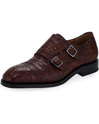 Ferragamo - Men's Tramezza Crocodile Double-monk Shoe - Lyst