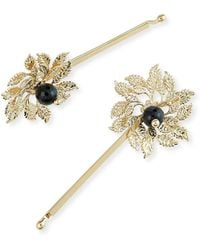 Rosantica - Grace Brass Acanthus Leaf Bobby Pins - Lyst