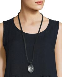 Eskandar - Crystal Pendant Necklace On Leather Cord - Lyst
