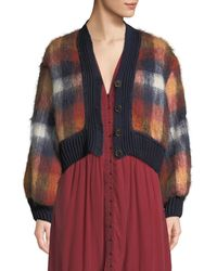 Sea - Maryam Button-front Plaid Mohair-blend Combo Cardigan - Lyst