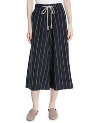 Vince - Striped Drawstring Side-slit Culottes - Lyst