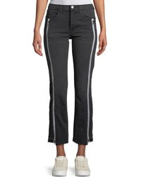 Current/Elliott - The Dallon Mid-rise Straight-leg Jeans With Zipper Details - Lyst