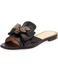 8e6f0e61c064 Gucci Ophelia Floral-embroidered Flat Sandals in Black - Lyst