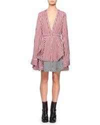 Alexander McQueen - Striped Cotton Minidress - Lyst