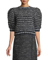 Adam Lippes - Puff-sleeve Hand-knit Cropped Tweed Sweater - Lyst