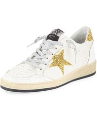 601e237f597 Golden Goose Deluxe Brand - Ball Star Glitter   Leather Sneakers With  Shimmer Laces - Lyst