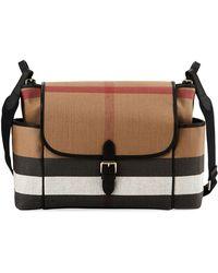 Burberry - Flap-top Check Canvas Diaper Bag - Lyst