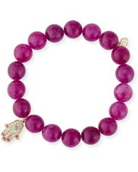 Sydney Evan - 10mm Beaded Berry Jade Bracelet With Diamond & Ruby Hamsa Charm - Lyst
