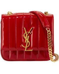 Saint Laurent - Vicky Monogram Ysl Small Quilted Patent Leather Crossbody Bag - Lyst