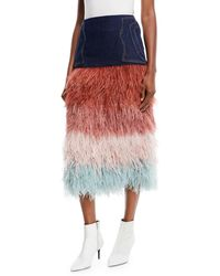 Johanna Ortiz - A Visit To Fairyland Multicolor Tiered Ostrich-feather & Denim Midi Skirt - Lyst