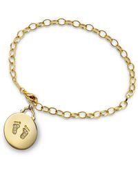 Monica Rich Kosann - 18k Yellow Gold Small Baby Feet Charm Bracelet W/ Diamonds - Lyst