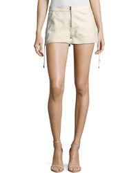 Haute Hippie - Rattlesnake Snake-print Leather Lace-up Side Shorts - Lyst