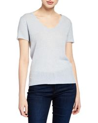 ATM - Cashmere V-neck Short-sleeve Sweater Top - Lyst