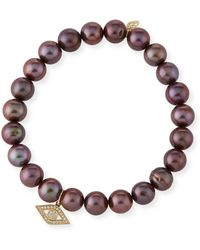 Sydney Evan - Anniversary Brown Pearl Bracelet With Diamond Evil Eye Charm - Lyst