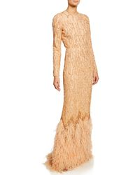 J. Mendel - Beaded Long-sleeve Column Gown With Ostrich Feather Hem - Lyst