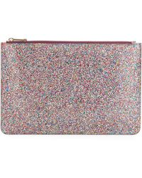 Edie Parker - Glittered Zip-top Pouch Bag - Lyst