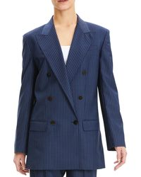 Theory - Striped Double-breasted Wool Blazer - Lyst