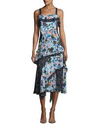 Tanya Taylor - Watercolor Floral-print Sleeveless Tiered Midi Dress - Lyst