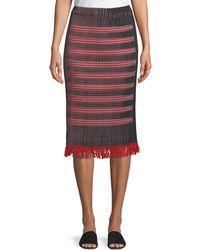 Issey Miyake - Plisse Pencil Midi Skirt With Fringe Hem - Lyst