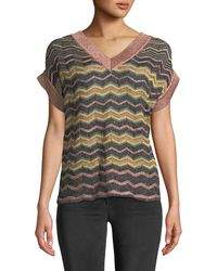 M Missoni - Metallic Zigzag V-neck Top - Lyst